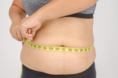 Les doigts de la femme mesurant sa graisse de ventre Photos stock