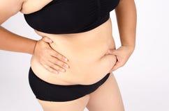 Les doigts de la femme mesurant sa graisse de ventre Image libre de droits