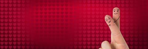 Les doigts du ` s de Valentine aiment le fond de couples et de coeurs de valentines Image stock