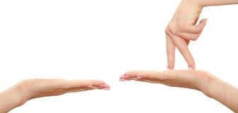 Les doigts marchent la paume Images libres de droits