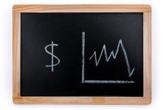 Les dollars américains évaluent le diagramme sur un tableau noir sur le fond blanc photographie stock libre de droits