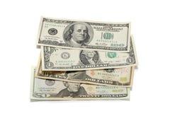 les dollars de fond nous ont isolés blancs Photo libre de droits