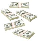 les dollars de voler ont isolé des paquets d'argent illustration de vecteur
