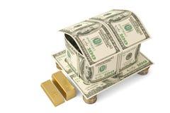 Les dollars logent et les pièces d'or illustration 3D Illustration Stock