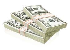 les dollars ont isolé des paquets d'argent illustration libre de droits