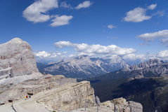 Les dolomites visualisent du refuge de Lagazuoi Photo stock