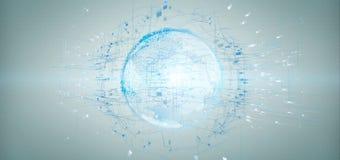les données du rendu 3d mettent à la terre le globe sur un fond Image stock