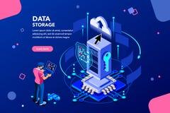 Les données entretiennent le concept social d'innovation isométrique illustration stock