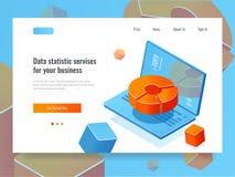 Les données rapportent, l'analytics d'affaires et l'analyse, ordinateur portable avec des affaires de diagramme, de programmation Illustration Libre de Droits