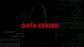 Les données se sont effacées, tentative infructueuse d'entailler le serveur, criminel sur le fond de codes photographie stock libre de droits