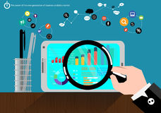 Les données du marché d'analyse commerciale de production d'électricité de vecteur avec des communications avancées commercent co Photos libres de droits