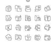 Les dossiers Bien-ont ouvré la ligne mince de vecteur parfait de pixel la grille 2x des icônes 30 pour des graphiques et Apps de  Photos stock