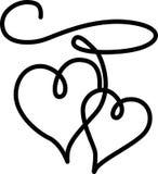 Les doubles coeurs se sont connectés par une corde Image libre de droits
