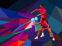 Les doubles mélangés de joueurs de badminton équipe, homme et femme commencent le jeu de badminton, service de badminton de vecte Images libres de droits