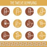 Les douze icônes d'Olympiens réglées Photographie stock