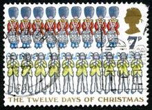 Les douze jours du timbre-poste BRITANNIQUE de Noël Images libres de droits
