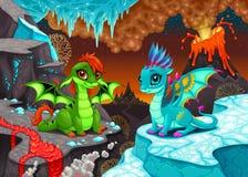 Les dragons de bébé dans une imagination aménagent en parc avec le feu et la glace illustration de vecteur