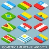 Les drapeaux américains isométriques plats ont placé 3 Photo stock