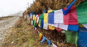 Les drapeaux colorés de prière chez Pelela passent, le Bhutan Photographie stock