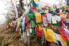 Les drapeaux colorés de prière chez Pelela passent, le Bhutan Images libres de droits