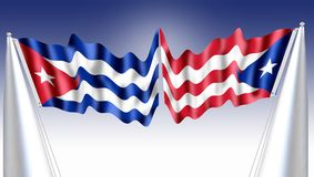 Les drapeaux de Cubain et de Puerto Rico The sont intentionnellement très semblables, puisque le parti révolutionnaire cubain a p photos stock