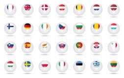 Les drapeaux de sphère ont placé l'UE Photo stock