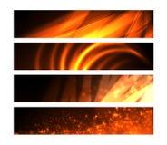 Les drapeaux de Web avec l'incendie aiment des effets Images libres de droits