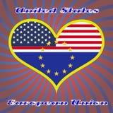 Les drapeaux des Etats-Unis à un coeur forment avec des points culminants sur les bords Images libres de droits