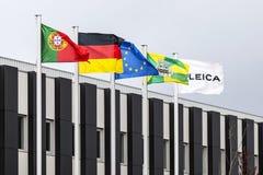 Les drapeaux du Portugal, Allemagne, UE, Vila Nova de Famalicao Photo stock