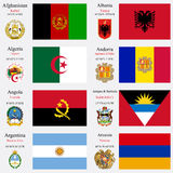 Les drapeaux et les capitaux du monde ont placé 1 Photographie stock libre de droits