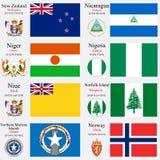 Les drapeaux et les capitaux du monde ont placé 17 illustration de vecteur