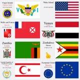 Les drapeaux et les capitaux du monde ont placé 27 Photo libre de droits