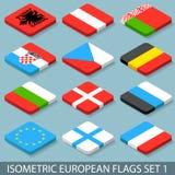 Les drapeaux européens isométriques plats ont placé 1 Photo stock