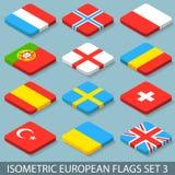 Les drapeaux européens isométriques plats ont placé 3 Images libres de droits