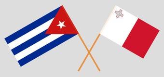 Les drapeaux maltais et cubains Couleurs officielles Proportion correcte Vecteur illustration de vecteur