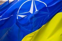 Les drapeaux nationaux de l'Ukraine et de l'OTAN Photographie stock libre de droits