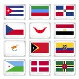 Les drapeaux nationaux des plats de texture en métal illustration de vecteur