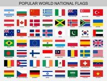 Les drapeaux nationaux du monde ont placé, collection officielle de drapeau de nations illustration libre de droits