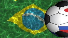 Les drapeaux ont imprimé le ballon de football tournant sur le drapeau onduleux réaliste du Brésil illustration de vecteur