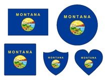 Les drapeaux ont placé de l'état des Etats-Unis du Montana images libres de droits