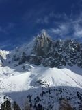 Les Drus. Hiver montagne Alpes Royalty Free Stock Image