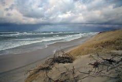 Les dunes de sable du Curonian crachent au coucher du soleil, la mer baltique, Kaliningrad Oblast, Russie Photographie stock