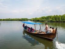 Les eaux de Carry Tourists Around Mangrove Forest de bateau images stock