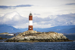 Les Eclaireurs lighthouse, Beagle channel. Ushuaia, Argentina. The lighthouse was put into service on December 23, 1920 Stock Images