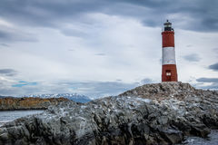Les Eclaireurs Red and white lighthouse - Beagle Channel, Ushuaia, Argentina Stock Images