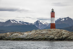 Les Eclaireurs Red and white lighthouse - Beagle Channel, Ushuaia, Argentina Royalty Free Stock Images