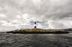 Les Eclavireurs Lighthouse, Beagle Channel, Tierra del Fuego, southern Argentina. Lonely Beacon - Les Eclaireurs faro di Ushuaia, Argentina Royalty Free Stock Images