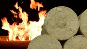 Les eco-briquettes en bois de sciure se sont redressées, le feu brûlant de fond Combustible de substitution, bio carburant tir de clips vidéos