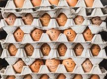 Les egges avec émotion comme personnes dans la vie de condominium Images libres de droits