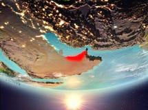 Les Emirats Arabes Unis avec le soleil Image libre de droits